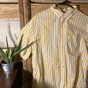 Yellow and white stripped button down shirt